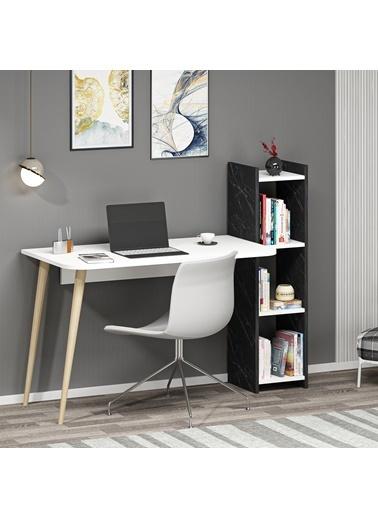 DemonteDekor Çalışma Masası Beyaz-Safir Meşe Renkli
